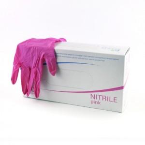 Рукавички нітрилові рожеві M, 50 пар в уп.