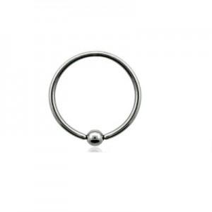 Кільце для пірсингу титанове з кулькою