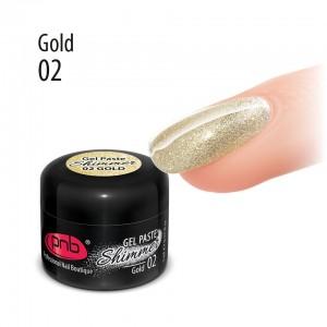 УФ/ЛЕД гель-паста Shimmer PNB 02 Золотиста, 5 мл